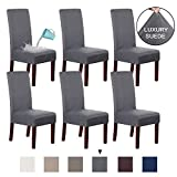 H.VERSAILTEX Suede Dining Room Chair Covers Dining Chair Slipcover Parsons Chair Slipcover Velvet Chair Covers for Dining Room Set of 6, Soft Stretch Removable High Back Chair Protector, Gray