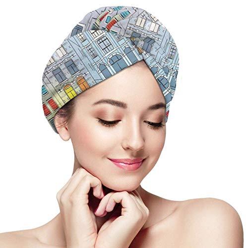 HomeLEE Quick Dry Haar Wrap Handdoeken Turban, Noel Tijd Op Amsterdamse Kanaal Met Historische Beroemde Gebouwen Noord-Europa Design, Absorbent Douche Cap