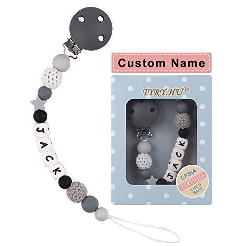 Schnullerkette mit Namen Junge Mädchen Schnuller Clip Personalisierte Schnuller Dummy Clips Silikon Perlen Beißring für Babys BPA Frei