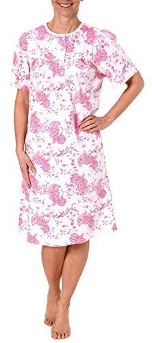 Normann Damen Nachtemd Klassische Design, mit Knopfleiste am Hals - 191 210 90 310, Farbe:rosa, Größe2:44/46