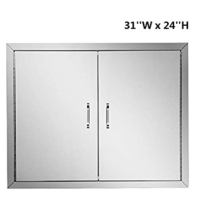 ROVSUN Outdoor Kitchen Access Door, 31''W x 24''H Double Wall BBQ Access Door, Heavy Duty 304 Stainless Steel Perfect for Outdoor Kitchen & BBQ Island