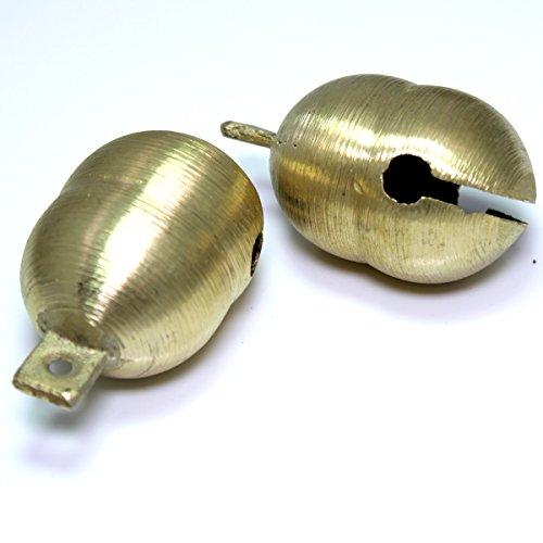 Kleenes Traumhandel 2 extra Laute gefräste Messing Glöckchen Schellen - Doppelkörper - ca. 54x39x36 mm