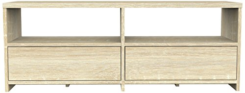 Furniture 247 Contemporary 2-Drawer TV Stand 120 x 39 x 49cm, Natural Oak-Effect