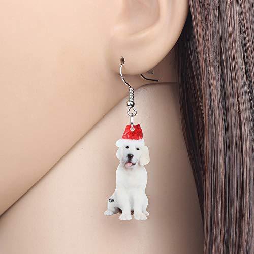 EHXWL Acrílico Sombrero de Navidad Labrador Pendientes de Perro Gota Cuelga Joyería...