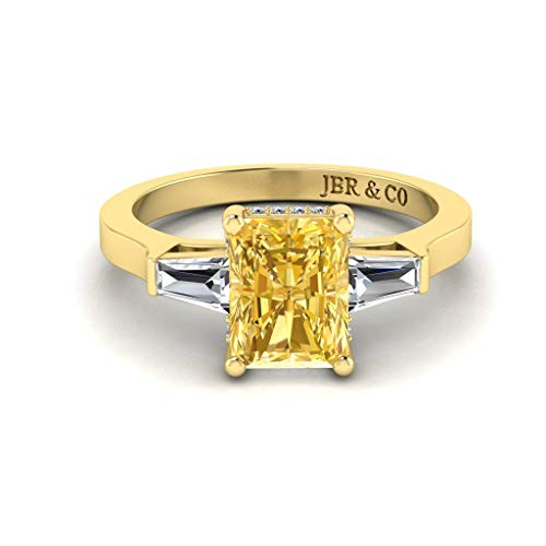 JBR Anillo de compromiso de plata de ley de corte radiante amarillo intenso de tres piedras