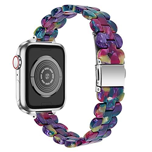 AISPORTS Compatibile con Cinturino Apple Watch 40mm 38mm Resina per Donna e Uomo,Cinturino in Acciaio Inossidabile Fibbia Metallica Cinturino di Ricambio per Apple Watch SE/IWatch Series 6/5/4/3/2/1