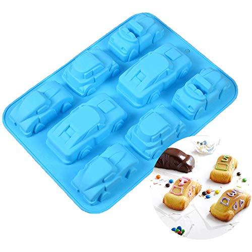 YaphetShuya 1 Packung 3D-Karton-Auto-Silikonform Backform mit 8 Mulden, antihaftbeschichtet, Backformen für Kuchen, Seife, Gelee, Pudding, Schokolade