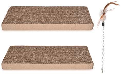 Navaris Rascador para Gatos – Set de 2 tableros afiladores de uñas de cartón Corrugado y bambú