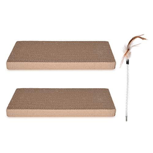 Navaris Set de Repuesto para rascador de Gato - Tabla de rascar para Mascotas - Set de 2 tableros afiladores de uñas de cartón Corrugado y bambú