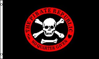 RTR_INCRSE 1 Piece of 3'x5' Pirate Republic Jolly Roger Flag Skull No Quarters Given Crossbones 3X5