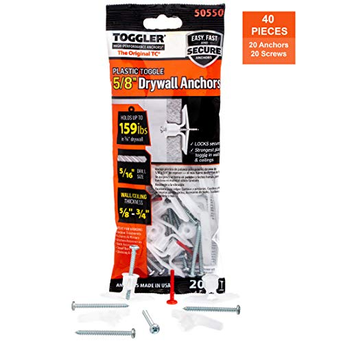 Polypropylene For #6 to #14 Fastener Sizes 3//8 to 1//2 Grip Range Mechanical Plastics Corp 104460847 Made in US TOGGLER Toggle TB Residential Drywall Anchor 3//8 to 1//2 Grip Range Pack of 100