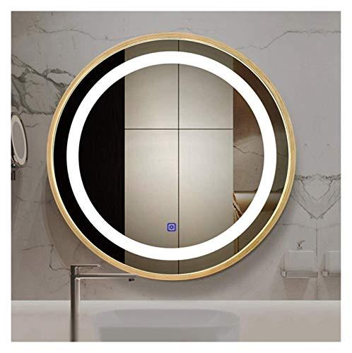 Espejo de baño redondo LED inteligente montado en la pared (color: dos colores, tamaño: 60 cm)