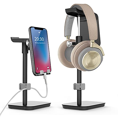 Cell Phone Stand&Headphone Stand 2-IN-1, 6amLifestyle Adjustable Desktop Phone Holder Dock with Cable Manage Compatible with Android Phones/iPhone/iPad/Tablet/Kindle (Black)