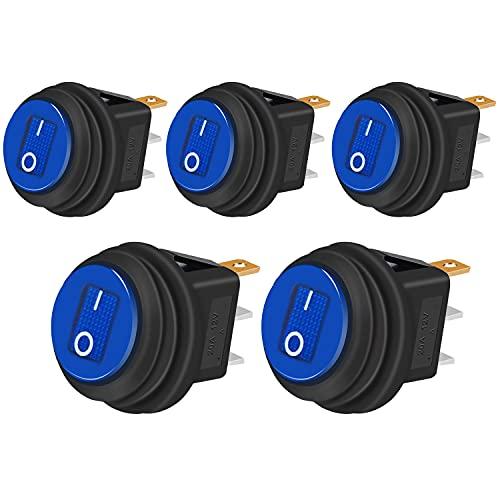 Taiss 5Pcs Interruttore a Levetta Impermeabile 20A 12V DC SPST ON/OFF 3 Pin 2 Posizioni Rotondo Interruttore a bilanciere con Blu Luce a LED per Elettrodomestici Auto Barca Camion KCD1-8-101NW-BU