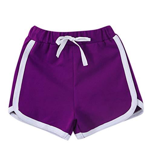 Julhold Sommer Kinder Jungen Mädchen Bonbonfarben Beiläufige Kurzschlüsse Elastische Taille Hosen Kleidung Geeignet für Sport