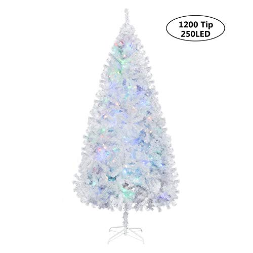 LJPHHA 2.3M Albero di Natale Fibra Ottica LED Albero di Natale Artificiale Bianco Flash Decorazioni Natalizie per Interni per Alberi di Natale,Bianca