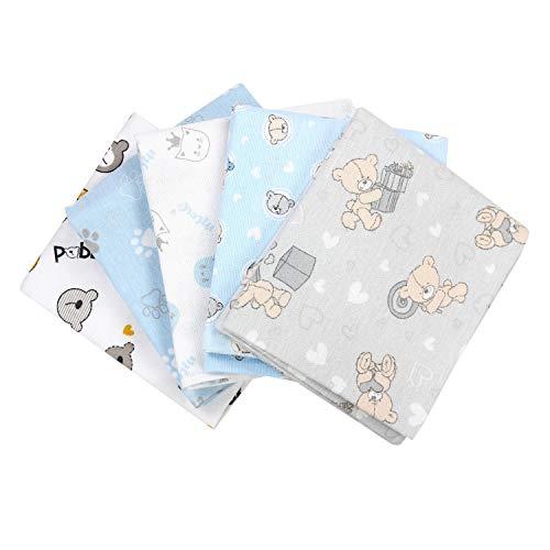 TupTam Baby Moltontücher Flanellwindeln Spucktücher Stoffwindeln Mädchen Jungen 70x80 5er Pack, Farbe: Junge 2, Anzahl der Teile:: 5er Pack