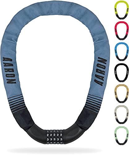 AARON Lock One Fahrradschloss mit 5-stelligem Zahlencode, Kettenschloss aus Stahl und hoher Sicherheitsstufe   Schloss für für E-Bike, Mountainbike, Trekkingrad, Tourenrad, Rennrad in grau-blau