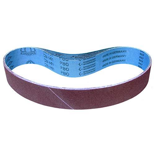 Klingspor CS 341 X Schleifband | 50 x 800 mm | 5-teiliges Premium-Set | je ein Band der Körnung: P80, P120, P180, P240, P400