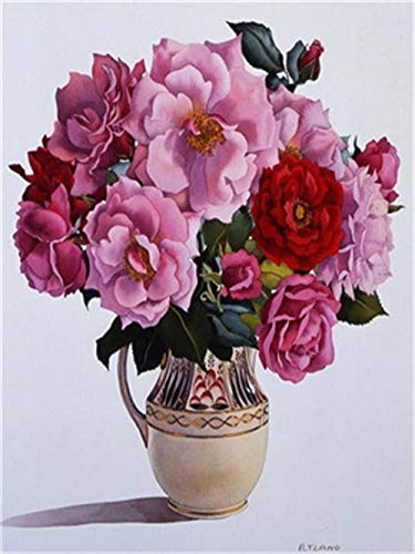 BJLBABY schilderen op nummer, doe-het-zelf olieverfschilderij, cadeau voor volwassenen en kinderen, bloempotten, canvas-olieverfschilderijen, kits voor thuis, decoratie 40 x 50 cm, zonder lijst