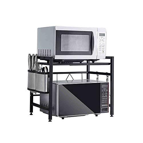 GLJJQMY Estante de la Cocina Horno de microondas Horno Estante de Almacenamiento gabinete Negro (Size : 43-60x32x46cm)