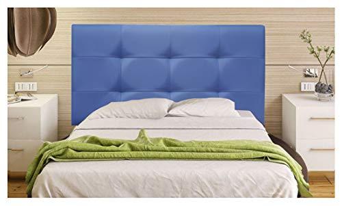 ONEK-DECCO Cabecero tapizado en Polipiel de Dormitorio Tennessee Medidas cabecero de Cama niño, Juvenil y Matrimonio Cabezal Blanco, tapizado, Acolchado (90x70, Azul)