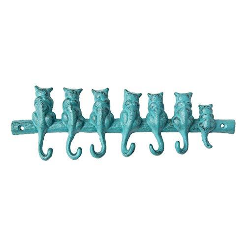 Comfify - Gancho de Pared de Hierro Fundido de 7 Gatos - Estante Decorativo de Gancho de Pared de Hierro Fundido - Perchero de diseño Vintage con 4 Ganchos - con Tornillos y Anclas - Azul