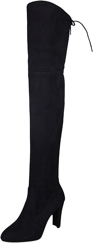 Briskorry Botas de mujer de caña larga, estilo casual, por encima de la rodilla, elegantes, modernas, clásicas con cremallera