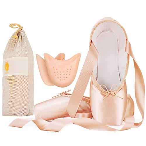 IJONDA Adult Ballet Pointe Shoes Hard Toe Dance Shoes Pink Satin Practice Ballet Slippers for Girls Women