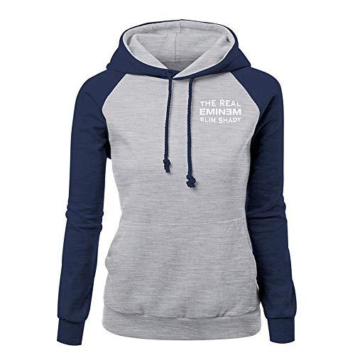 Eminem Pullover Herbst-Frauen Einfaches Sweatshirt Langarm Damen Patchwork PulloverHoodie Tops Unisex (Color : Blue08, Size : L)