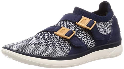 Nike Womens Sockracer Flyknit Low & Medium Buckle Running Shoes, College Navy / College Navy-Sail, Size 6