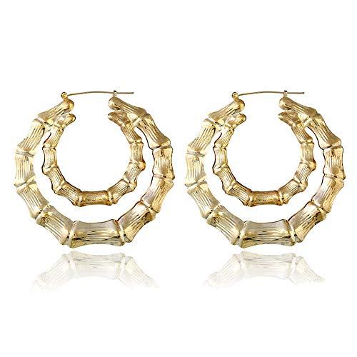 Arete Pendientes De Metal De Aro Grande Pendientes De Color Dorado Plateado Con Círculo Grande Para Mujer Joyería De Moda-Oro