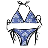 Raquettes de Tennis Bleues Femmes Sexy Triangle Bikini Triangle réglable Cravate latérale Bikini Maillots de Bain Maillots de Bain de Plage Noir
