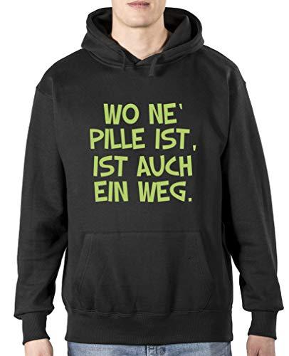 Comedy Shirts – Wo ne Pille est également un sweat à capuche pour homme – Capuche – Poche kangourou à manches longues, imprimé - Noir - Taille M