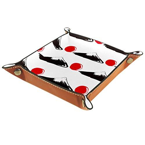 Bandeja de Valet Cuero para Hombres - Patrón de sol rojo del monte Fuji de Japón - Caja de Almacenamiento Escritorio o Aparador Organizador,Captura para Llaves,Teléfono,Billetera,Moneda