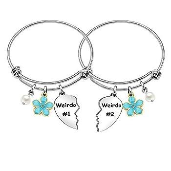 Maxforever Women Girls Weirdo #1 Weirdo #2  Best Friend Forever Charm Pendant Bracelet Bangle Friendship Gift