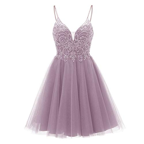 Short Homecoming Dresses Tulle V Neck Prom Gowns for Juniors 2021 Dusty Pink Size 4 (Apparel)