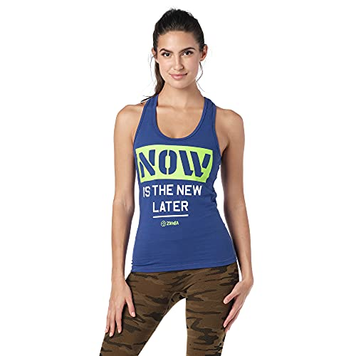 Zumba Fitness Soft Graphic Print Dance Workout Active Racerback Tops For Women Tanktops, Blue and Now, XX-Large Womens