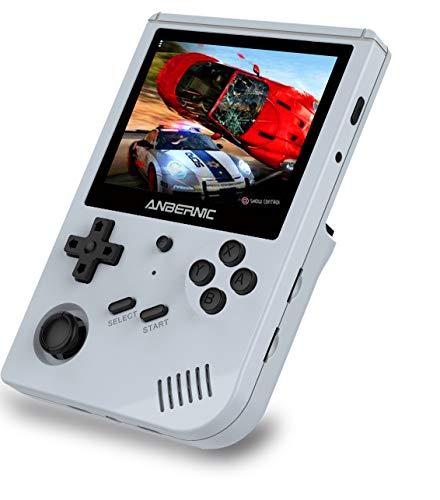 Anbernic RG351V Consolas de Juegos Portátil , Consola de Juegos Retro 3.5 Pulgadas IPS Built-in WiFi Online Sparring 64G TF Card 2500 Juegos Support PSP / PS1 / N64 / NDS (Gray)