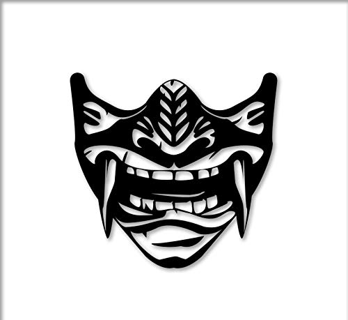 Sticker Samurai Mask Oni Decal for Laptop Car Wall Window USA Stickers (6')