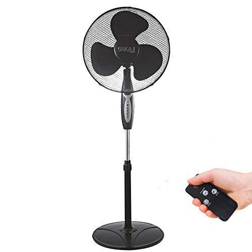 Bakaji Ventilatore a Colonna Piantana Potenza 45W Diametro Pale 40cm 3 Velocità Selezionabili Altezza regolabile Oscillazione Orizzontale e Telecomando per Controllo a Distanza (Nero)