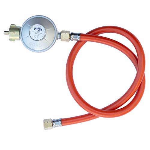 TAINO Gasregler Druckminderer 50mbar + Gasschlauch 80cm Druckregler Gasgrill