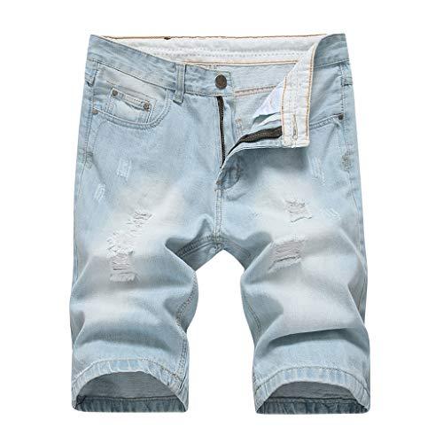 iHAZA Hommes Été Trou Fermeture éclair Froisser en Forme Tout Droit Denim Ancien Style Jeans Un Pantalon