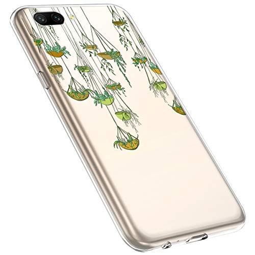 MoreChioce kompatibel mit Huawei Honor 10 Hülle,Huawei Honor 10 Handyhülle Blume,Ultra Dünn Transparent Weiche Silikon Schutzhülle Clear Crystal Rückschale Tasche Defender Bumper,Blumenzweig #2
