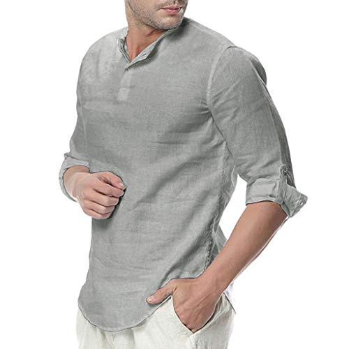 Botón de Lino Camisa Venta Yvelands para Hombre Color sólido Suelta Slim Fit T Camisa Blusa cómodo y Transpirable