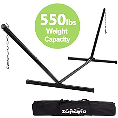 Zupapa 550lbs Weight Capacity Two Point Portable Hammock Stand only 2 Steel Chains 1 Carry Bag Included fit for 15ft-12ft.hammocks: Size : 181  (L) x45.5(W) x52 (H) (55 lbs Black