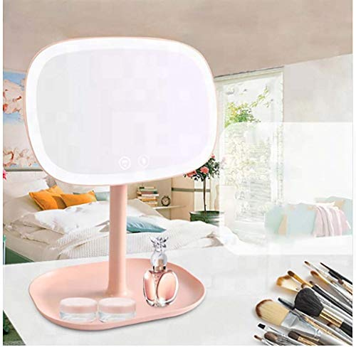 XZYP multifunktionell makeup-sminkspegel med belysning, 2019 ny guidad sminkbord ljusspegel, rygg tio gånger lupp, rosa