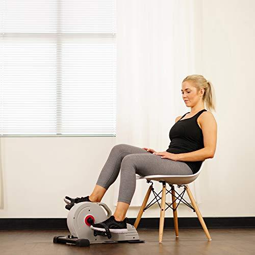 Sunny Health & Fitness Under Desk Bike Pedal Exerciser, Desk Elliptical Mini Bike - SF-B0891 , Gray