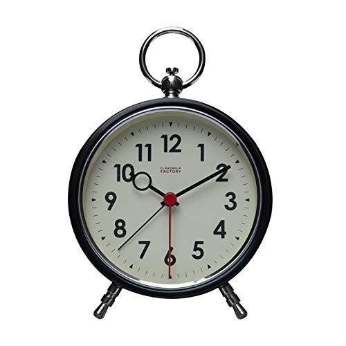 Cloudnola Factory Reloj Alarma – Despertador – Metal - Negro y Blanco - 11 cm – Silencioso – Movimiento de Quartz -Pilas – Luz LED para Ver en la Oscuridad