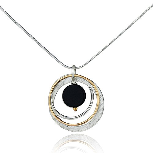 Stera Jewelry 925 Silver & 14k Gold Filled Black Onyx Multi Hoops Pendant Necklace, 18 + 4 Inches